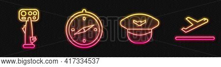 Set Line Pilot Hat, Aircraft Steering Helm, Compass And Plane Takeoff. Glowing Neon Icon. Vector