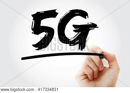 5g - Fifth Generation Of Wireless Communications Text With Marker, Technology Concept Background