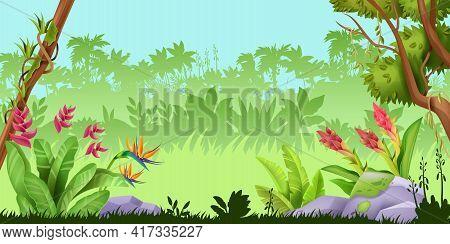Jungle Landscape, Tropical Rainforest Nature Game Background, Wood Palm Silhouette, Stone, Exotic Fl