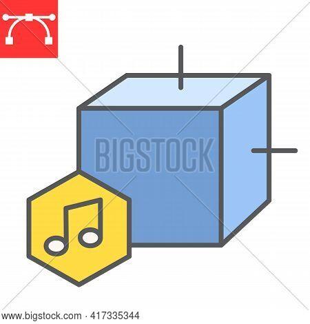 Music Nft Color Line Icon, Unique Token And Nft Blockchain, Non Fungible Token Vector Icon, Vector G