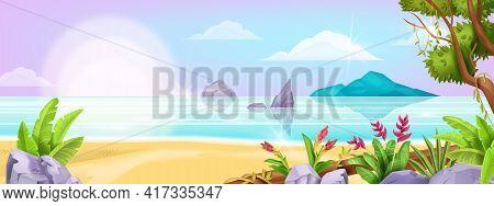 Summer Beach Landscape, Vector Ocean Exotic Background, Tree Foliage, Sea, Tropical Island, Sand, Ro