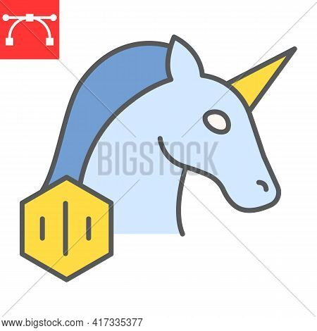 Unicorn With Nft Color Line Icon, Unique Token And Non Fungible Token, Unicorn Vector Icon, Vector G