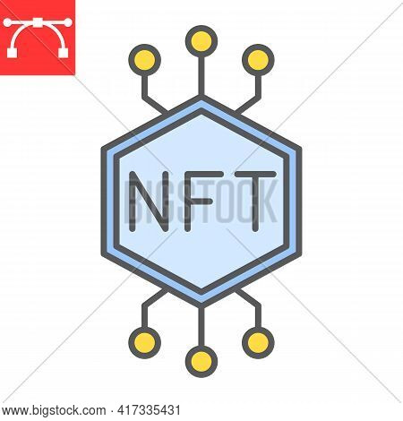 Nft Color Line Icon, Token And Blockchain, Non Fungible Token Vector Icon, Vector Graphics, Editable