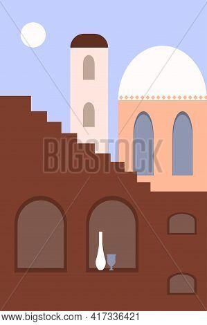 Minimalist Landscape Of The Old City. Modern Boho Architecture Design For Souvenir Shops, Travel Age
