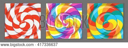 Colorful Lollipop Background With Rainbow Stripes. Posters With Pattern Of Twisted Sucker Candy. Vec