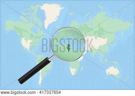 Map Of The World With A Magnifying Glass On A Map Of Tunisia Detailed Map Of Tunisia And Neighboring