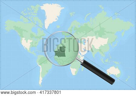 Map Of The World With A Magnifying Glass On A Map Of Mauritania Detailed Map Of Mauritania And Neigh