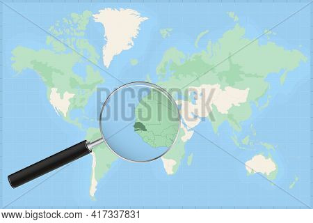 Map Of The World With A Magnifying Glass On A Map Of Senegal Detailed Map Of Senegal And Neighboring