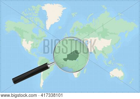 Map Of The World With A Magnifying Glass On A Map Of Niger Detailed Map Of Niger And Neighboring Cou