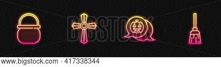 Set Line Pumpkin, Halloween Witch Cauldron, Tombstone With Cross And Witches Broom. Glowing Neon Ico
