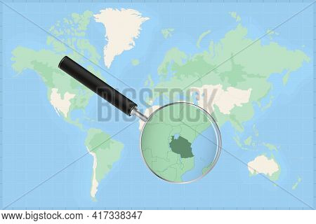 Map Of The World With A Magnifying Glass On A Map Of Tanzania Detailed Map Of Tanzania And Neighbori