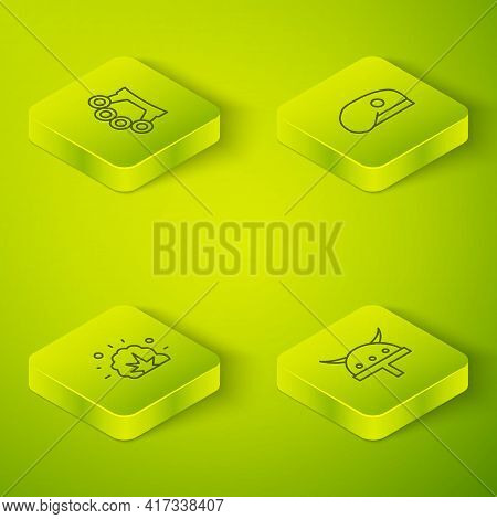 Set Isometric Line Military Beret, Bomb Explosion, Viking In Horned Helmet And Brass Knuckles Icon.