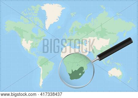 Map Of The World With A Magnifying Glass On A Map Of South Africa Detailed Map Of South Africa And N