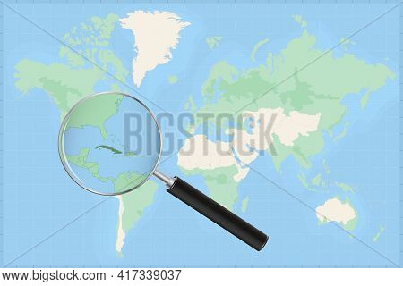 Map Of The World With A Magnifying Glass On A Map Of Cuba Detailed Map Of Cuba And Neighboring Count