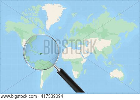 Map Of The World With A Magnifying Glass On A Map Of Dominican Republic Detailed Map Of Dominican Re