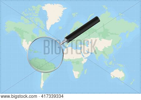 Map Of The World With A Magnifying Glass On A Map Of Saint Vincent And The Grenadines Detailed Map O