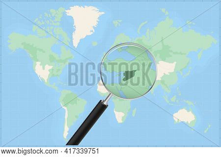Map Of The World With A Magnifying Glass On A Map Of Syria Detailed Map Of Syria And Neighboring Cou