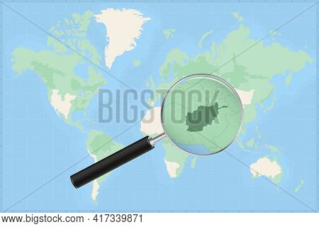 Map Of The World With A Magnifying Glass On A Map Of Afghanistan Detailed Map Of Afghanistan And Nei