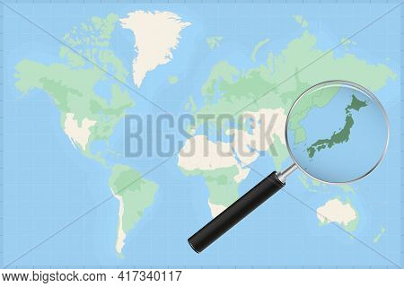 Map Of The World With A Magnifying Glass On A Map Of Japan Detailed Map Of Japan And Neighboring Cou