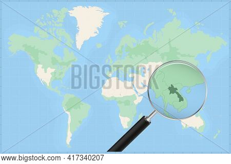 Map Of The World With A Magnifying Glass On A Map Of Laos Detailed Map Of Laos And Neighboring Count