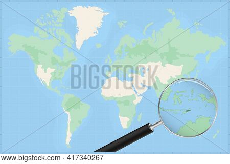 Map Of The World With A Magnifying Glass On A Map Of East Timor Detailed Map Of East Timor And Neigh
