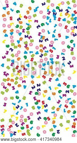 Falling Colorful Numbers. Math Study Concept With Flying Digits. Fresh Back To School Mathematics Ba