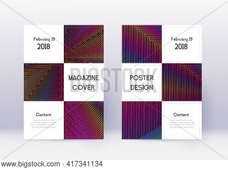 Business Cover Design Template Set. Rainbow Abstra