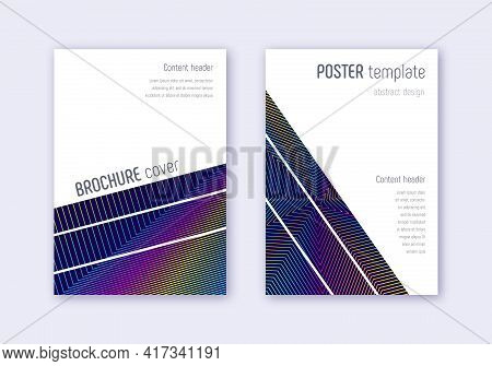 Geometric Cover Design Template Set. Rainbow Abstr