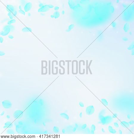 Turquoise Flower Petals Falling Down. Magnetic Rom