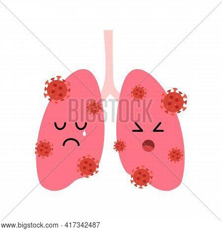 Human Lungs Cartoon With Virus Cells In Flat Design On White Background. Coronavirus Pneumonia Disea