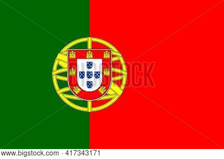 Official National Flag Of Portugal. Flag Of The Portuguese Republic, Correct Proportions And Colors.
