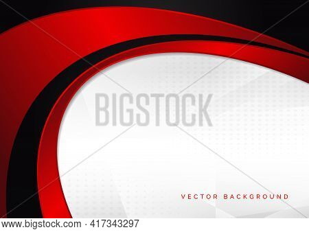 Abstract Template Red And Black Curve On Dot Pattern White Background. Vector Illustration