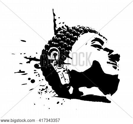 Buddha Head , Black White Hand Drawn Style With Ink Splatters And Drops Abstract Silhouette Vector I