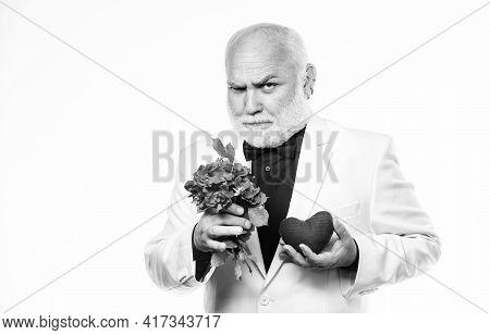 Well Groomed Handsome Bearded Man Wear Tuxedo. Romance And Dating. Senior Gentleman Romantic Soul. M