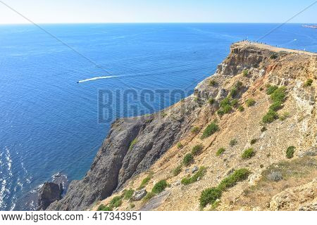 Cape Fiolent. Beautiful Views Of The Black Sea Coast At Cape Fiolent In Summer In Clear Weather. Aer