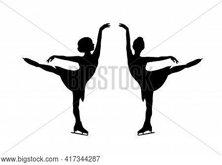Elegant Little Girl Performing Figure Skating Sport Exercise - Beautiful Kid  In Motion Black Vector