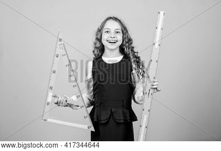 School Student Learning Geometry. Small Girl Back To School. Stem School Disciplines. Math Lesson. E