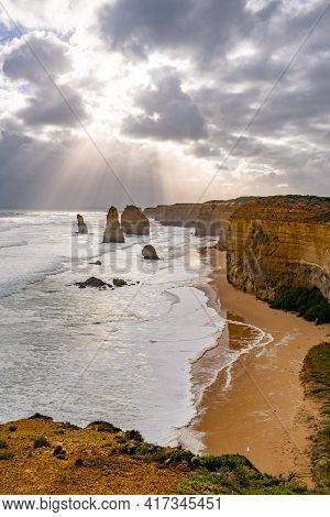 Sunshine After A Storm At The Twelve Apostles Lookout In Victoria, Australia