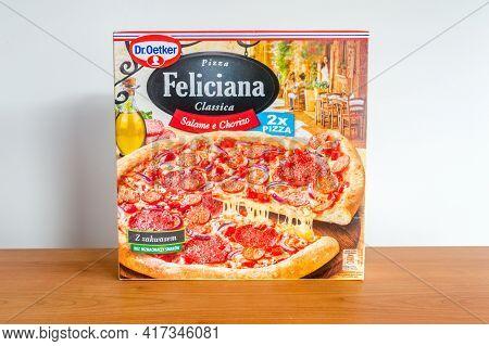 Pruszcz Gdanski, Poland - April 13, 2021: Dr. Oetker Pizza Feliciana Classica Salame E Chorizo.
