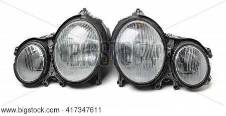Pair Of Halogen Headlights For A German Auto Optical Equipment With Corrector And Lens Inside. Spare