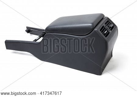 Plastic Element Of Car Interior Is Covered In Black Leather - Armrest Or A Glove Compartment - Spare