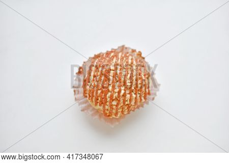 Nutty Creamy Round Cake On A White Background