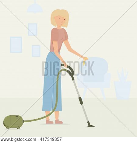 A Young Blonde Girl With A Vacuum Cleaner And A Rag In Her Hands Cleans The House. Interior Of The H
