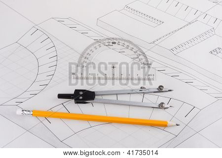 Building plan with drawing tools of a civil construction poster