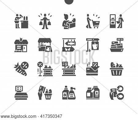 Grocery. Food Supermarket. Shopping Cart, Scales, Discount And Sale. Fruit Market. Food Paper Bag. V