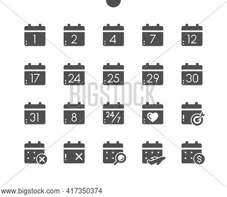 Calendar With Numbers. Today, Payday, Search Data, Schedule. Calendar With Cross Marks And Heart. Ve