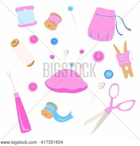 Sewing Kit Icons Set. Hobby Tools Poster. Needlework, Tailor, Handmade, Dressmaking, Hobby, Sewing.