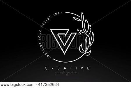 V Letter Logo With Floral Monogram Line Design And Circular Shape Vector. Elegant Leaf Botanical Des