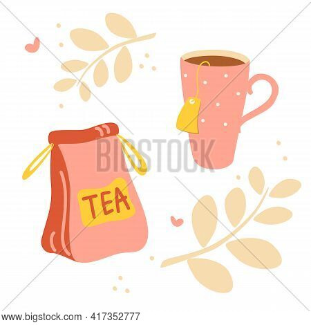 Cartoon Tea Cups And Kettle. Tea Time. Postcard Design, Banner. Isolated Kettle, Illustration For Lo