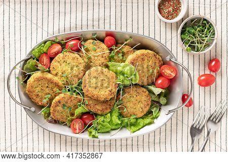 Metal Platter With Vegan Quinoa Burgers